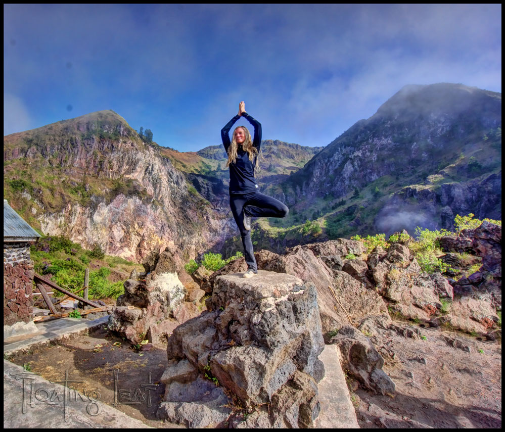 Sunrise Yoga at the top of Mt Batur Volcano.