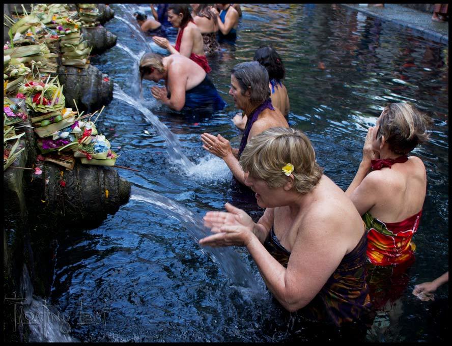 etreat participants take their turn at each fountain.