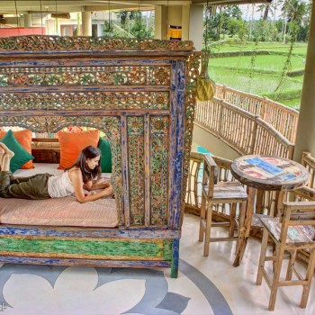 Daybed overlooking ricefields and The Indian Ocean