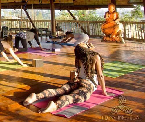 Yoga class with Buddha