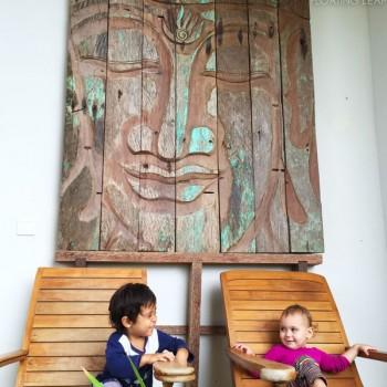 Smiling Buddha and children